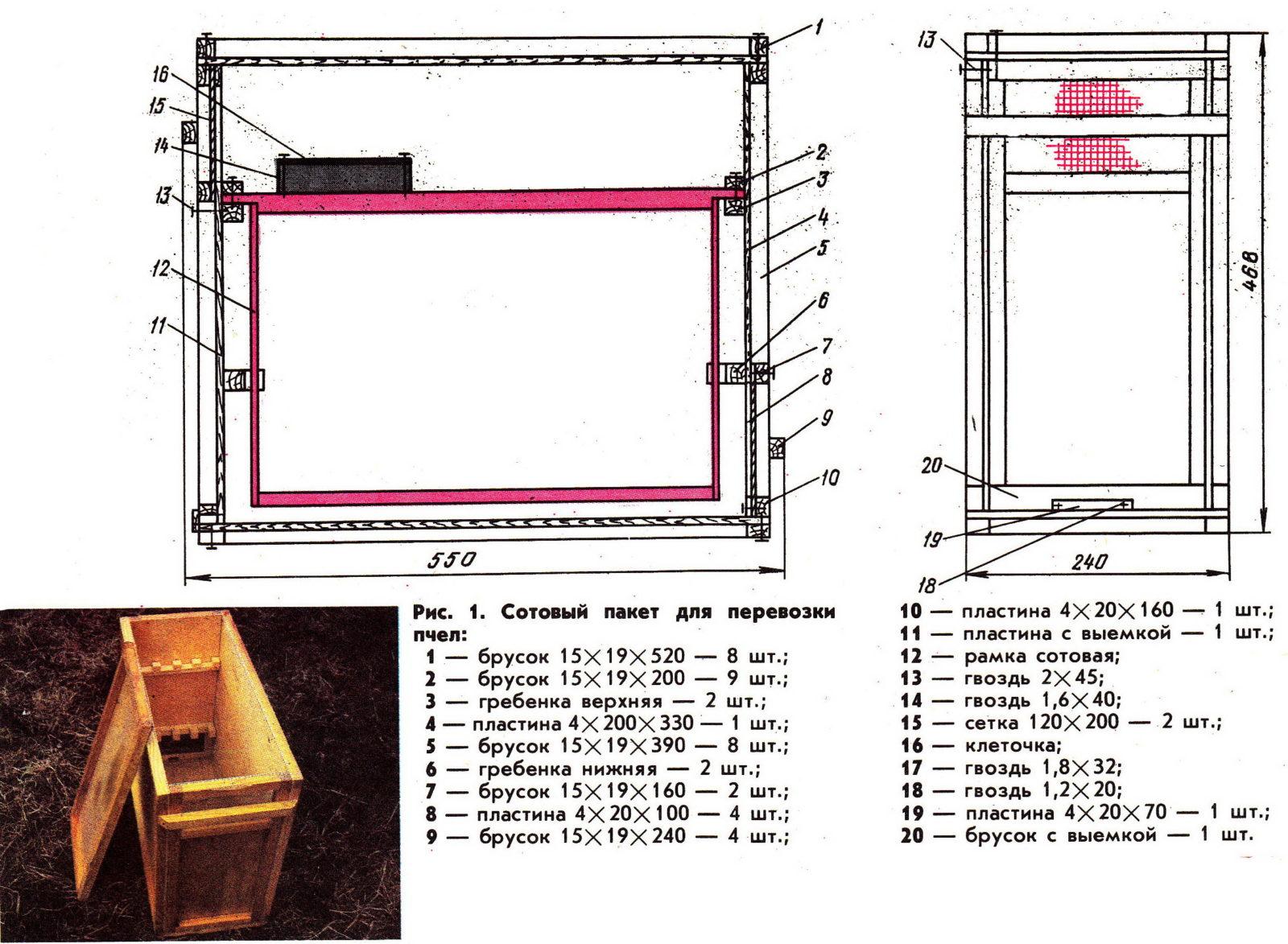 четырехрамочный пакет для пересылки пчел